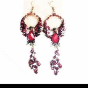 "Phoenix Rising Red Bird Earrings 3.5"" long"